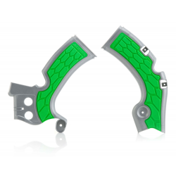 Protections de cadre ACERBIS X-GRIP - KAWASAKI KXF450 '09/17 - Argent / Vert
