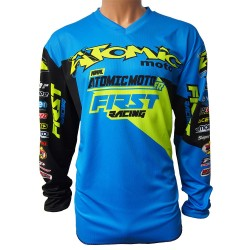 Maillot perso ATOMIC DATA 2018 - Bleu / Lime fluo