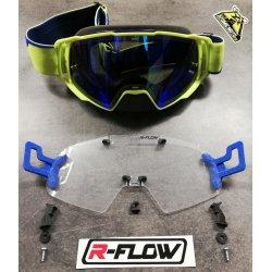 Masque DEPT63 Jaune fluo / bleu + Kit R-FLOW