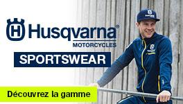 Tous le sportswear HUSQVARNA Motorcycles est disponible. Sweat, tshirt, veste, ...