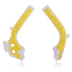 Protections de cadre ACERBIS X-GRIP - KTM/HVA SX/TC '16/17 EXC/TE '17 - Blanc / Jaune