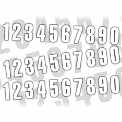 Jeu de 3 numéros adhésifs 130×70mm - Blanc