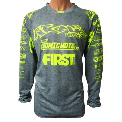 Maillot ATOMIC SCAN 2018 FIRSTRACING - Gris chiné / Lime fluo