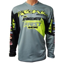 Maillot perso ATOMIC DATA 2018 - Gris / Lime fluo