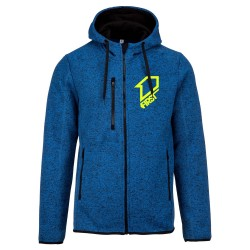 Veste zippée à capuche Knit Classic FIRSTRACING - Bleu / Fluo