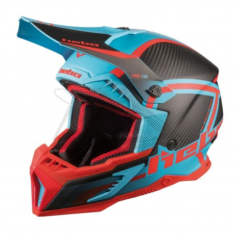 Casque HEBO Legend Carbone - Turquoise / Rouge mat