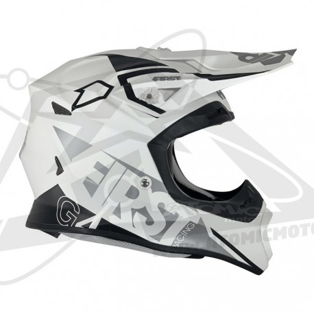 Casque FIRSTRACING G4 fibre V2.1 - Blanc / Silver / Noir