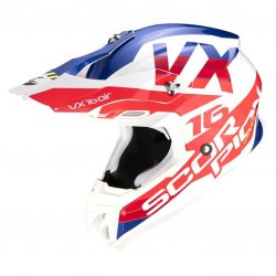 Casque SCORPION VX-16 AIR X-TURN Blanc - Rouge
