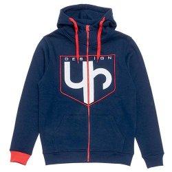 Sweat UP Design à capuche zippé bleu et rouge